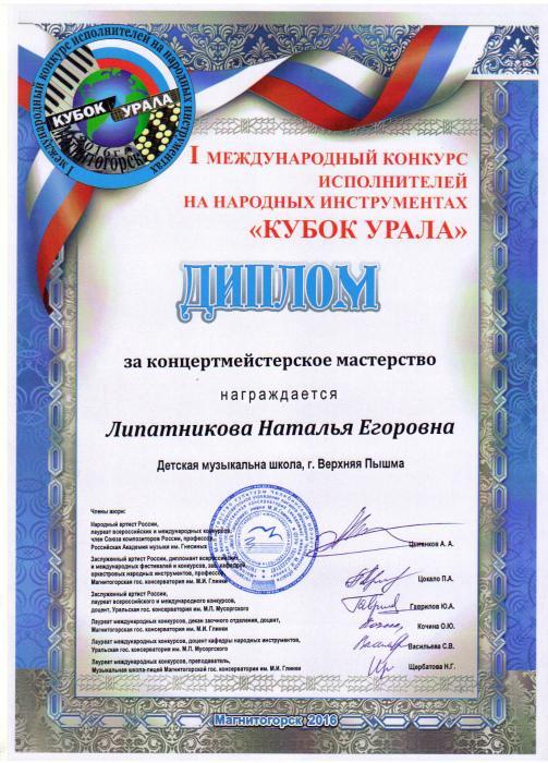 МБУ ДО Детская музыкальная школа  Диплом за концертмейстерское мастерство